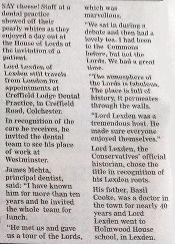 Colchester Evening Gazette - Lord Lexden article