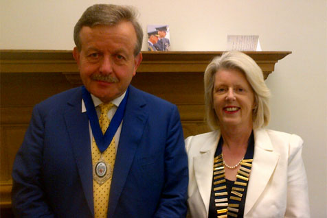 Lord Lexden wearing his badge as President of the Independent Schools Association is flanked by Angela Culley the current Chairman