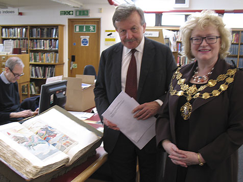 Lord Lexden and the Lord Mayor visiting the Westminster Archives Centre